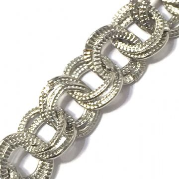 1 meter x 8*7mm rhodium plated double link chain - 6523043